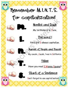 Use a poster maker to make this into a poster for your classroom. MINTS is a good mnemonic to help students remember words that need to be capitalized.