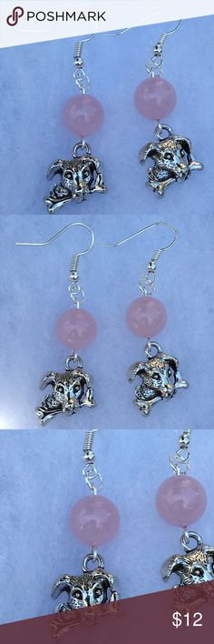 Pink Rose Quartz Silver Puppy Dog Earrings These cute earrings are made with natural rose quartz. The puppy dog charms are silver tone. The hooks are sterling silver plated.   All PeaceFrog jewelry items are handmade by me! Take a look through my boutique for more unique creations. PeaceFrog Jewelry Earrings