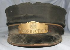 Santa Fe RR conductors Hat and Badge - Vintage - Martin Martin St. Louis.