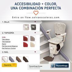 ¿De qué color personalizarías tu #salvaescaleras? Vive la accesibilidad en el hogar a todo color con el salvaescaleras #FlowII. Además de integrarse en el hogar sin obras, puedes elegir los colores que mejor combinen. ¡Entra en flow.salvaescaleras.com y personaliza el tuyo!