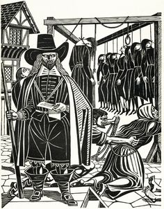Witch Finder Matthew Hopkins - illustration by Eric Fraser from Folklore Myths and Legends of Britain (1973).