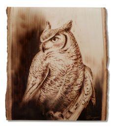 Wood Burned Owl by Dennis Franzen Wood Burning Stencils, Wood Burning Patterns, Wood Burning Art, Eagle Sketch, Dremel Wood Carving, Got Wood, Cool Woodworking Projects, Leather Art, Wood Burner