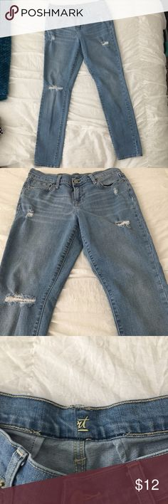 OLD NAVY Distressed Boyfriend Jeans | light wash Great condition! They're a little worn in the legs, but don't worry they came like that ;). They are size 6 and the sweetheart cut from Old Navy but they are a little altered in the waist because they didn't fit me exactly how I wanted. They are loose cut anyway, but still fit like a 6, but just a little smaller up top. Old Navy Jeans Boyfriend