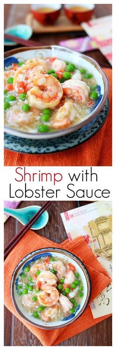 {American-Chinese} Shrimp with Lobster Sauce - quick, easy recipe that produces the most delicious shrimp in eggy lobster sauce!! | rasamalaysia.com