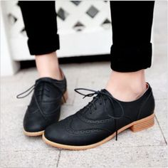 Brogue-Women-Lace-Up-Wing-Tip-Oxford-College-Style-Flat-Fashion-Shoes-Big-Size