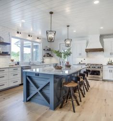 If you are looking for Farmhouse Kitchen Cabinets Design Ideas, You come to the right place. Here are the Farmhouse Kitchen Cabinets Design Ideas. Blue Kitchen Island, Farmhouse Kitchen Island, Modern Farmhouse Kitchens, Home Kitchens, Kitchen Modern, Farmhouse Ideas, Kitchen Island And Table Combo, Farmhouse Front, Country Kitchens