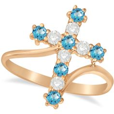 Allurez Diamond & Blue Topaz Religious Cross Twisted Ring 14k Rose... ($1,085) ❤ liked on Polyvore featuring jewelry, rings, blue topaz rings, cross rings, cocktail rings, twisted diamond ring and diamond band ring
