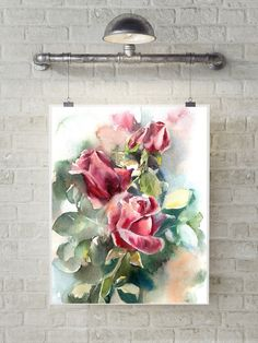 Art Print of Roses, watercolor painting art print, floral painting, modern wall art, red green floral art by CanotStopPrints on Etsy