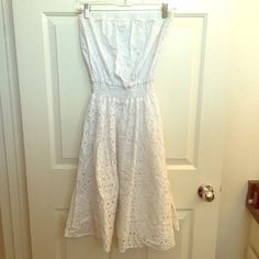White Tube Top Summer Dress w/ Lace/Doily Fabric HARDLY WORN!! White Tube Top Summer Dress w/ Lace/Doily Fabric. Dresses