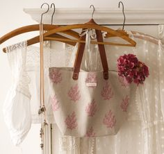 beautiful Peony & Sage linen bags available to buy at deVOL's Cotes Mill showrooms.