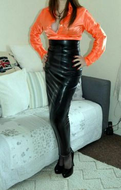 Long black latex high waisted hobble skirt