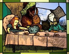 Stained Glass Alice in Wonderland Tenniel - would be lovely in a nursery as well!