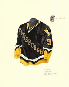 Watercolor painting of the Pittsburgh Penguins 1992-1993 uniforms