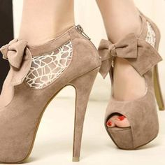Wedding Lace and Suede Bowknot Design Women's Peep Toed Shoes