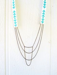 Blue and White Beadwork with Cascading Chains Necklace