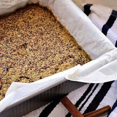 Cinnamon quinoa breakfast bake. Use honey and almond milk.