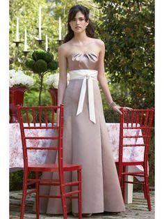 Satin Strapless Pleated Neckline Floor-Length Bridesmaid Dress
