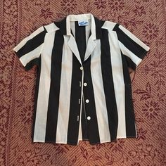 70s Vintage Button Up Amazing Beetlejuice/Hamburgler top straight from your mom's closet. Some wear as shown but the fade on this shirt is perfect. Brand is Cindy Collins. Best for a size S. Vintage Tops Button Down Shirts