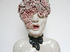 Femme bouquet // Lidia Kostanek, sculpture raku Ceramic Mask, Ceramic Clay, Rusalka, The Masterpiece, Sculpture Clay, Contemporary Ceramics, Illustrations, Sculpting, Hidden Beauty