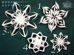 diy-3d-paperiset-lumihiutaleet Recycled Christmas Decorations, Christmas Ornaments To Make, Christmas Snowflakes, Christmas Crafts For Kids, Holiday Crafts, Christmas Diy, 3d Paper Snowflakes, Snowflake Craft, Snow Flakes Diy