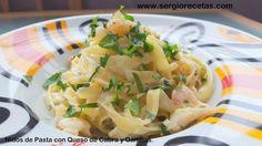 Nidos de pasta con salsa de crema de queso de cabra y gambas al ajillo