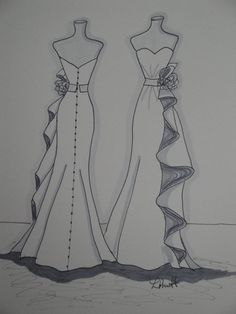 """This item is unavailable - Custom """"Front and Back View"""" Wedding Dress Illustration/ Sketch - Dress Design Drawing, Dress Design Sketches, Fashion Design Sketchbook, Dress Drawing, Fashion Design Drawings, Fashion Sketches, Dress Designs, Art Sketchbook, Fashion Figure Drawing"""