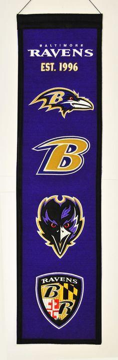 """Baltimore Ravens 8""""x32"""" Wool Heritage Banner"""