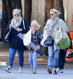 Casual look: Actress Naomi Watts was seen out in New York City with her motherMyfanwy Edw...