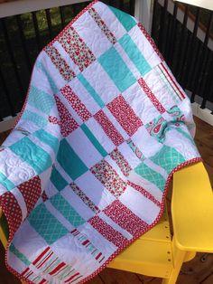 Little Girls Quilt Red teal Bedding Crib by ShellySQuiltsandMore