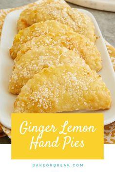 You'll love the bright, sweet, tart flavor of these Ginger Lemon Hand Pies! Lemon Desserts, Lemon Recipes, Top Recipes, Just Desserts, Sweet Recipes, Delicious Desserts, Dessert Recipes, Cooking Recipes, Yummy Food