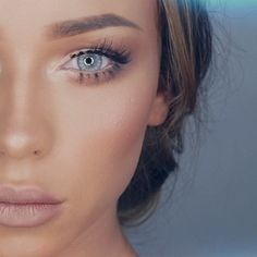 Eethereal eye + Nude lips makeup look with Light blue colored contacts, Desio in…