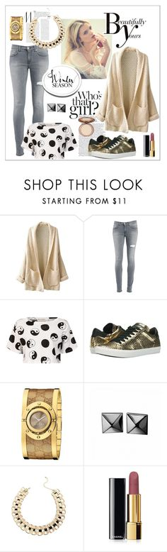 """""""Winter Up with Oversize Sweaters"""" by fashiontake-out ❤ liked on Polyvore featuring Dondup, Être Cécile, Sonam Life, Kennel & Schmenger, Gucci, Waterford, Chanel, skinnyjeans, croptops and sneakers"""