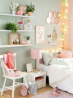 Green and Pink Girl's Bedroom