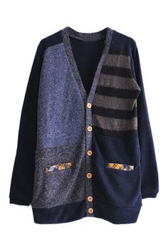 Love the Stripes! Love the Plaid Detailing! Navy Blue and Black ROMWE | Color Block Pocketed Cardigan,