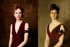 "Nicole Kidman fotografiada por Steven Miesel para VOGUE (1999) recreando el cuadro ""Mrs Charles E. Inches"" (1887) de John Singer Sargent"