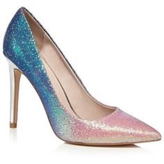 Faith Pink and blue glitter 'Chloe Ombre' high stiletto heel pointed... ($61) ❤ liked on Polyvore featuring shoes, pink glitter stilettos, stiletto heel shoes, pointed shoes, metallic shoes and pink stilettos #stilettoheelspointed