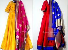 Anarkalis in georgette with Bananrasi silk dupatta. Gota work on the yolk. Avaialble in different color combinations. We do regular as well as plus sizes upto 6 Indian Attire, Indian Ethnic Wear, Salwar Designs, Blouse Designs, Pakistani Outfits, Indian Outfits, Heavy Dresses, Look Short, Desi Wear