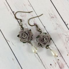Flower and Pearl Earrings with Gray Roses // by MonicaRudyJewelry