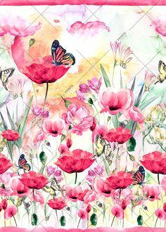 Butterflies poppies RPE0006
