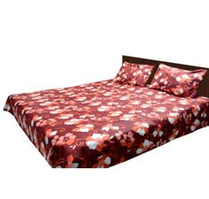Buy Cotton double bed sheet online in brown color with beautiful floral pattern on this will give a very colorful look to your room.