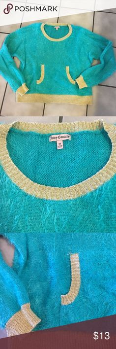 Juicy Couture Fuzzy Sweater Size Med Teal green and gold super soft sweater. Front kangaroo pocket. Worn once. The color is that of the 1st, 2nd and 4th photos. The 3rd and last photos make it look more of a blue Juicy Couture Sweaters Crew & Scoop Necks