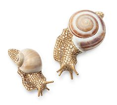 Wow what an interesting creation by Hemmerle featuring diamonds, white gold and snail shells on these earrings