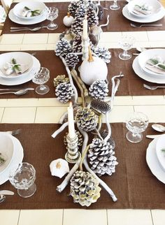 Winterlich festive table decoration with natural materials- Winterlich Festliche Tischdeko mit Naturmaterialien Table decoration for winter and Christmas with nature. Decoration Gris, Decoration Table, Snowflake Wedding, Diy Crafts To Do, Wooden Dining Tables, Nature Crafts, Diy Wood Projects, Natural Materials, Branches