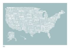 Font map of the United States by boldandnoble.com