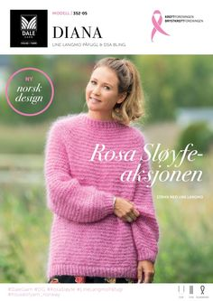 Rosa Sløyfe 2017 – Dale Garn Knitwear Fashion, One Color, Turban, Diana, Pullover, Wool, Knitting, Sweaters, Design