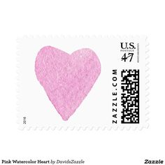 Pink Watercolor Heart Stamp  Available in three sizes and three rates!  #stamp #postage #post #mail #letter #united #states #postal #service #friend #family #mailing #send #sent #service #greeting #card #heart #love #emotion #relationship #feeling #friendship #friend #family #meaning #meaningful #water #color #watercolor #cute #pretty