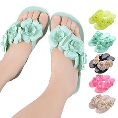 3fe857e2bff81f Summer Sweet Girls Slippers Camellia Women Beach Flip Flops Flat Rhinestone  Flowers Flip Flops Beach Slippers