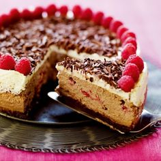 American-Style baked Chocolate and Raspberry Cheesecake Recipe #food #cheesecake #cake www.loveitsomuch.com