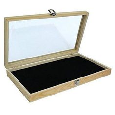 Natural Wood Glass Top Lid Black Pad Display Box Case Medals Awards Jewelry New  #NaturalWoodGlass