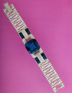 Cartier New York Art Deco Diamond Sapphire Bracelet |